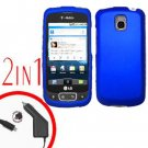 For LG Optimus One P500 Car Charger +Cover Hard Case Rubberized Blue 2-in-1