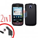 For LG Optimus One P500 Car Charger +Cover Hard Case Rubberized Black 2-in-1