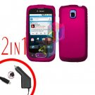 For LG Optimus One P500 Car Charger +Cover Hard Case Rubberized Rose Pink 2-in-1