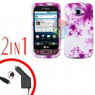 For LG Optimus One P500 Car Charger +Cover Hard Case H-Flower 2-in-1