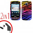 For LG Optimus One P500 Car Charger +Cover Hard Case C-Zebra 2-in-1
