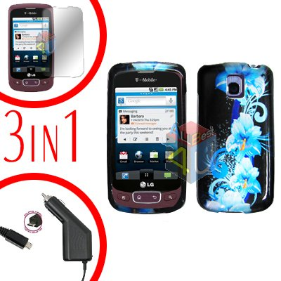 For LG Optimus One P500 Screen +Car Charger +Cover Hard Case Flower 3-in-1