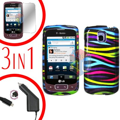 For LG Optimus One P500 Screen +Car Charger +Cover Hard Case Rainbow 3-in-1