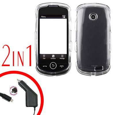 For Samsung Solstice II 2 A817 Car Charger +Cover Hard Case Clear 2-in-1