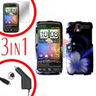 For HTC Desire Screen +Car Charger +Cover Hard Case B-Flower 3-in-1