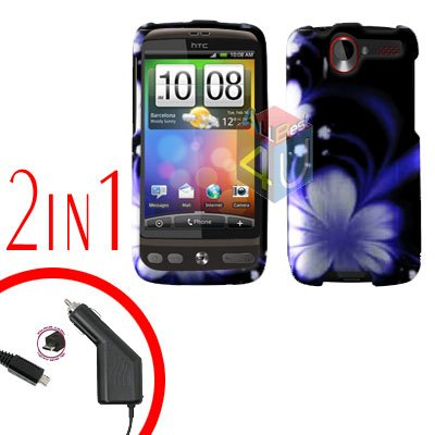 For HTC Desire Car Charger +Cover Hard Case B-Flower 2-in-1