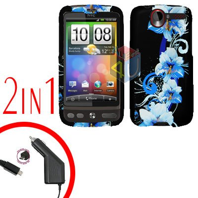 For HTC Desire Car Charger +Cover Hard Case Flower 2-in-1