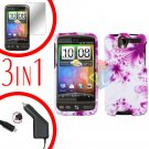 For HTC Desire Screen +Car Charger +Cover Hard Case H-Flower 3-in-1