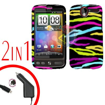 For HTC Desire Car Charger +Cover Hard Case Rainbow 2-in-1