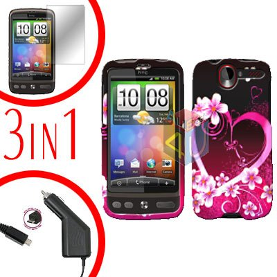 For HTC Desire Screen +Car Charger +Cover Hard Case Love 3-in-1