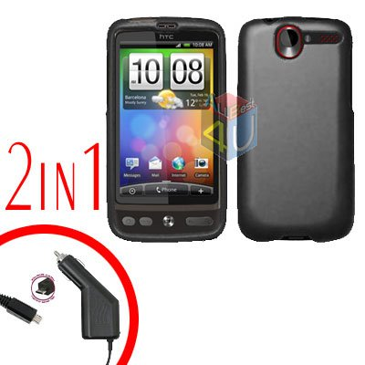 For HTC Desire Car Charger +Cover Hard Case Rubberized Black 2-in-1