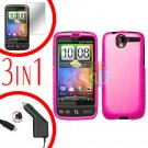 For HTC Desire Screen +Car Charger +Cover Hard Case Rubberized Hot Pink 3-in-1