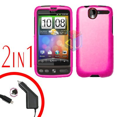 For HTC Desire Car Charger +Cover Hard Case Rubberized Hot Pink 2-in-1