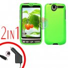 For HTC Desire Car Charger +Cover Hard Case Rubberized Neon Green 2-in-1