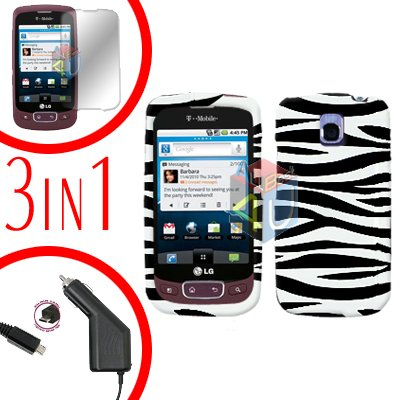 For LG Optimus One P500 Screen +Car Charger +Cover Hard Case Zebra 3-in-1
