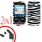 For LG Optimus One P500 Car Charger +Cover Hard Case Zebra 2-in-1