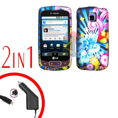For LG Optimus-T / P509 Car Charger +Cover Hard Case A-Flower 2-in-1