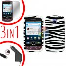 For LG Optimus-T / P509 Screen +Car Charger +Hard Case Zebra 3-in-1