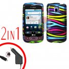 For LG Optimus-T / P509 Car Charger +Cover Hard Case Rainbow 2-in-1