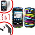 For LG Optimus-T / P509 Screen +Car Charger +Hard Case Rainbow 3-in-1