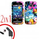 For LG Vortex VS660 Car Charger +Cover Hard Case A-Flower 2-in-1