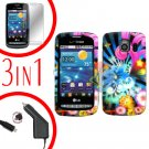 For LG Vortex VS660 Screen +Car Charger +Hard Case A-Flower 3-in-1