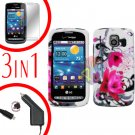 For LG Vortex VS660 Screen +Car Charger +Hard Case W-Flower 3-in-1