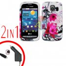 For LG Vortex VS660 Car Charger +Cover Hard Case W-Flower 2-in-1