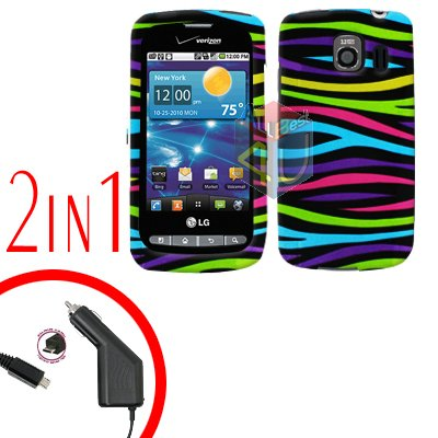 For LG Vortex VS660 Car Charger +Cover Hard Case Rainbow 2-in-1
