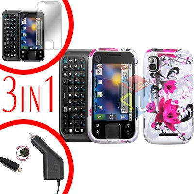 For Motorola Flipside MB508 Screen +Car Charger +Cover Hard Case W-Flower 3-in-1