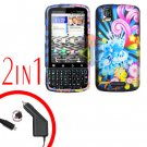 For Motorola Droid Pro A957 Car Charger +Hard Case A-Flower 2-in-1