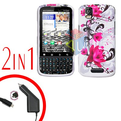 For Motorola Droid Pro A957 Car Charger +Hard Case W-Flower 2-in-1
