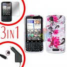 For Motorola Droid Pro A957 Screen +Car Charger +Hard Case W-Flower 3-in-1