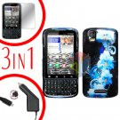 For Motorola Droid Pro A957 Screen +Car Charger +Hard Case Flower 3-in-1
