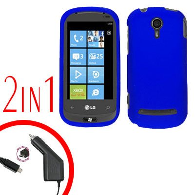 For LG Quantum C900 Car Charger +Cover Hard Case Rubberized Blue 2-in-1