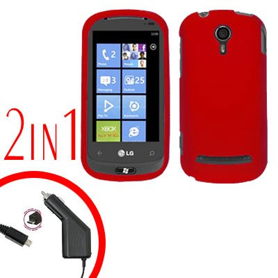 For LG Quantum C900 Car Charger +Cover Hard Case Rubberized Red 2-in-1