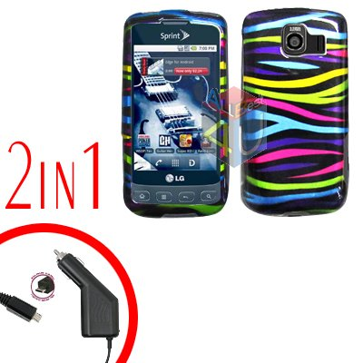 For LG Optimus U US670 Car Charger +Cover Hard Case Rainbow 2-in-1