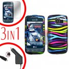 For LG Optimus U US670 Screen +Car Charger +Hard Case Rainbow 3-in-1