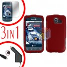 For LG Optimus U US670 Screen +Car Charger +Hard Case Red 3-in-1