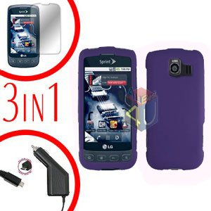 For LG Optimus U US670 Screen +Car Charger +Hard Case Purple 3-in-1