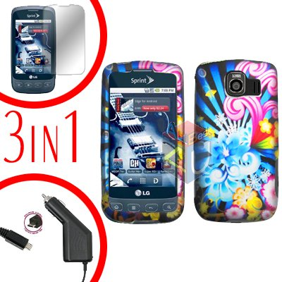 For LG Optimus U US670 Screen +Car Charger +Hard Case A-Flower 3-in-1