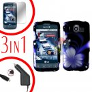 For LG Optimus U US670 Screen +Car Charger +Hard Case B-Flower 3-in-1