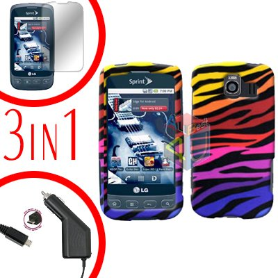 For LG Optimus U US670 Screen +Car Charger +Hard Case C-Zebra 3-in-1