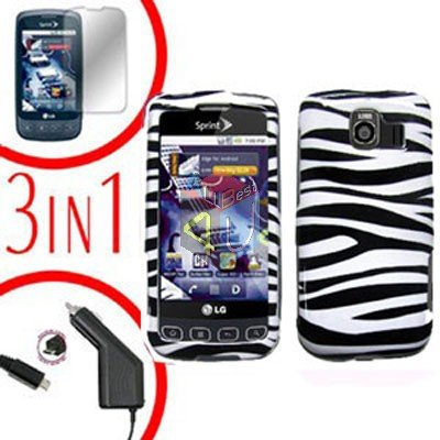 For LG Optimus U US670 Screen +Car Charger +Hard Case Zebra 3-in-1