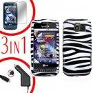 For LG Optimus U US670 Screen +Car Charger +Hard Case Zebra 3-in-1