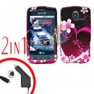 For LG Optimus U US670 Car Charger +Cover Hard Case Love 2-in-1