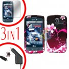 For LG Optimus U US670 Screen +Car Charger +Hard Case Love 3-in-1