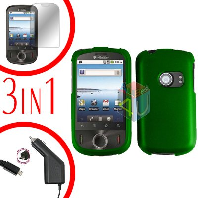 For Huawei Ideos U8150 Screen +Car Charger +Hard Case Rubberized Green 3-in-1