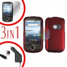 For Huawei Ideos U8150 Screen +Car Charger +Hard Case Rubberized Red 3-in-1