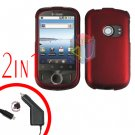 For Huawei Ideos U8150 Car Charger + Cover Hard Case Rubberized Red 2-in-1